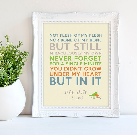 Not Flesh Of My Flesh Not Bone Of My Bone Quote Adoption Creed Etsy