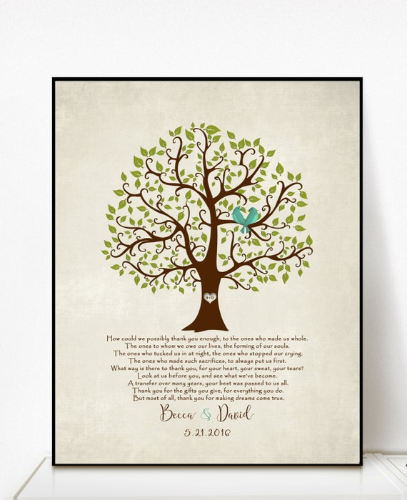 Parent Wedding Gifts Thank You: Parents Wedding Gift Personalized Parent's Poem Thank You