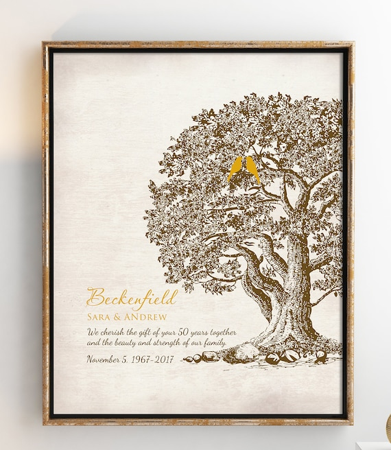 50th Wedding Anniversary Tree Gift Anniversary Gift For Etsy