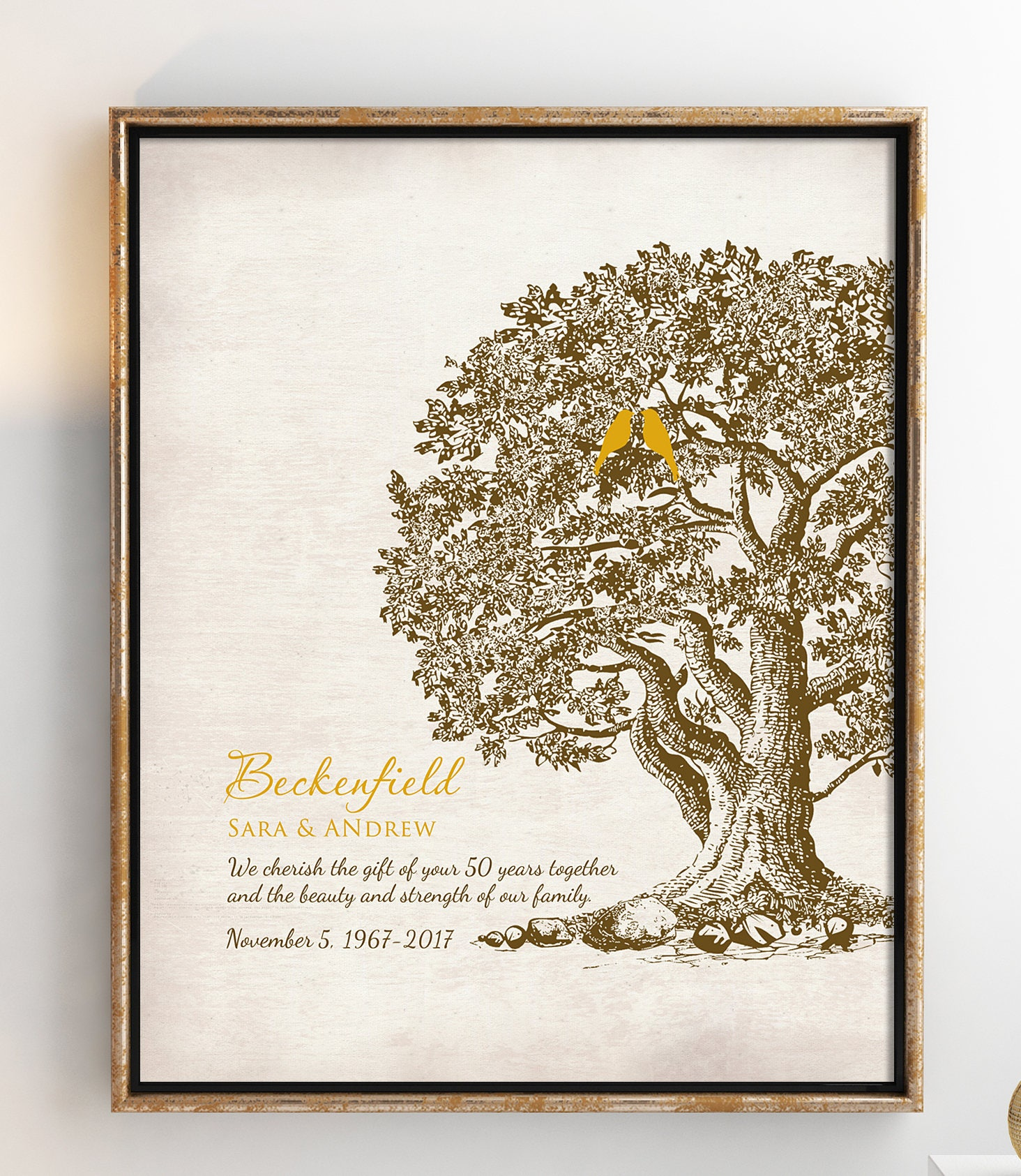 50th Wedding Anniversay Gifts: 50th Wedding Anniversary Tree Gift Anniversary Gift For