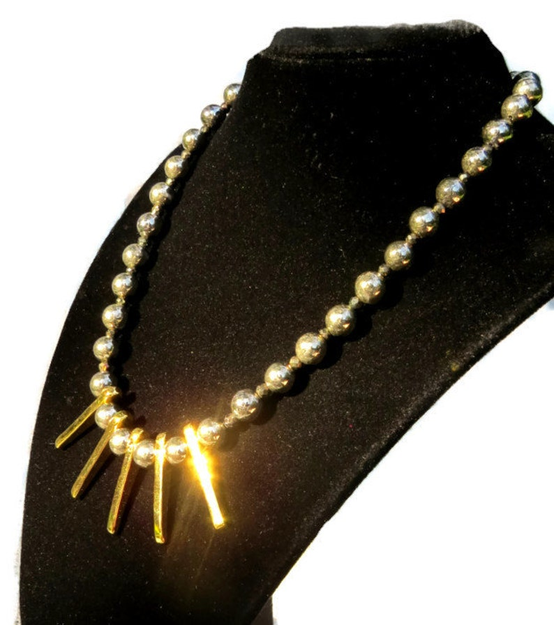 AAA Pyrite and 24kt Gold Dipped Mykonos Spike Necklace