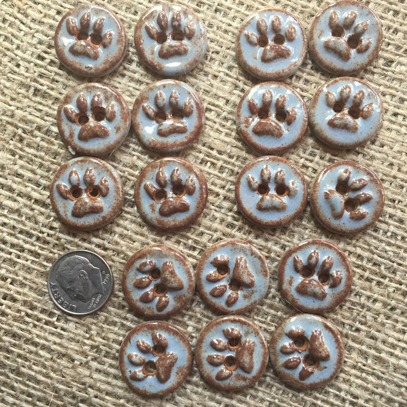 Small Paw Print Buttons Handcrafted Ceramic Buttons Kitty Paw Print Accent Bead Focal Ceramic Animal Print Button Puppy Dog Paw