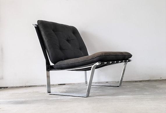 Wondrous Milo Baughman Style Chrome And Leather Chair Theyellowbook Wood Chair Design Ideas Theyellowbookinfo