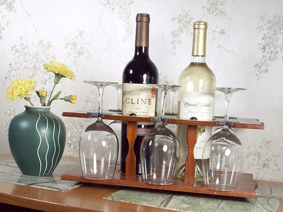 9 - Wine Bottle (2) & Stemmed Glass Caddy (6 station) Full Bottle 750ml