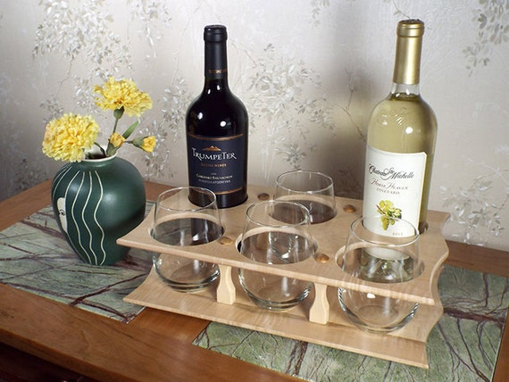 2 - Wine Bottle (2) & Stemless Glasses Caddy (4 station) Full Bottle 750ml