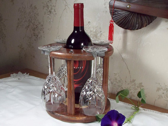 1 - Wine Bottle and Glass Caddy (4 station) Full Bottle 750ml