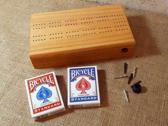 37. 2 Track Cribbage Board / Card Storage Box