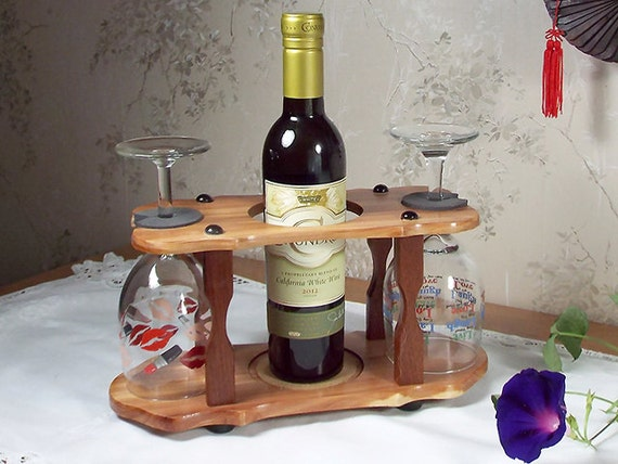 6 - Wine Bottle (1) & Stemmed Glass Caddy (2 station) Split 375ml