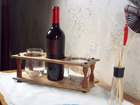8 - Wine Bottle (1) & Stemless Glass Caddy (2 station) Full 750ml