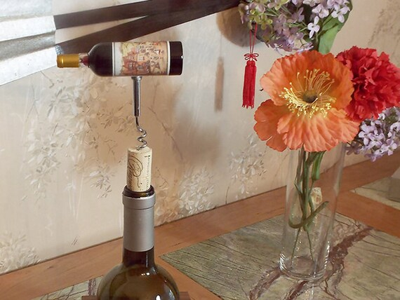 18 - Cork Screw Miniature Wine Bottle (red)