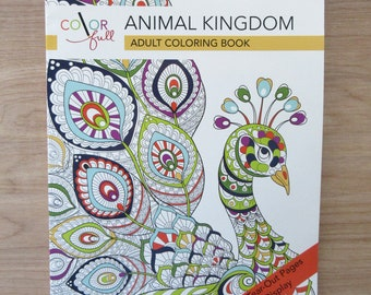 Color Full Animal Kingdom Adult Coloring BookOwlsFishTigers