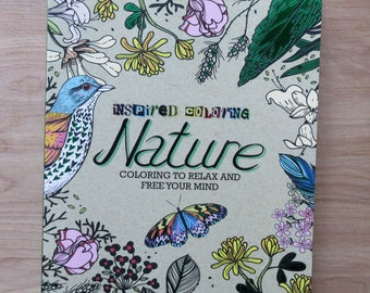 NATURE Inspired Adult Coloring Book~Flowers~Fish~Birds~Bugs~Elephant
