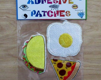 Fast Food Adhesive Patches Egg Taco Pizza
