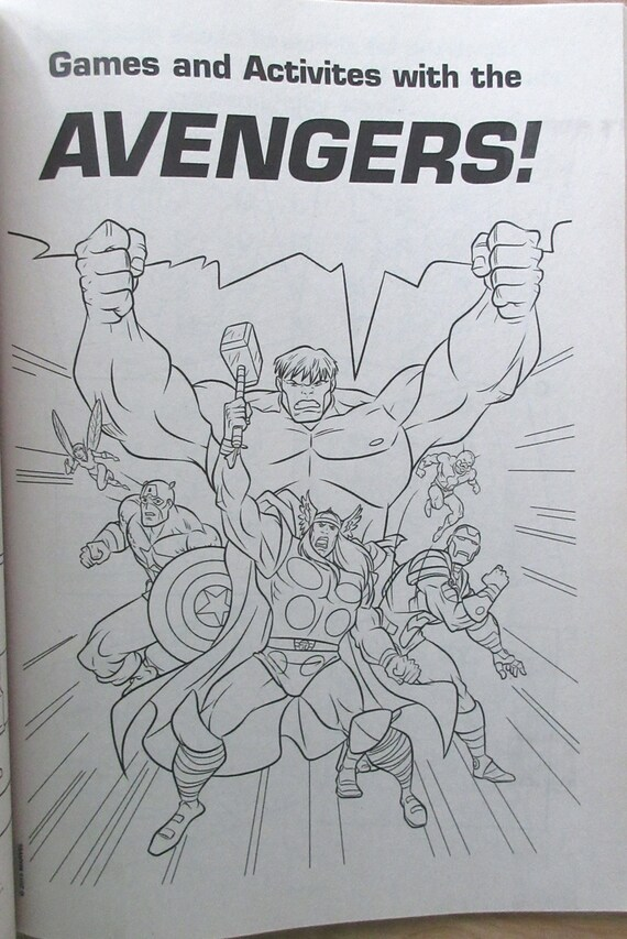 Marvel Avengers Coloring Book Heroes Join Forces~Captain  America~Hulk~Thor~Iron Man