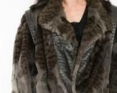 SALE Black Anthracite Rabbit Fur Stroller Coat Jacket size M-L