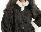 Black Broadtail Persian Lamb Reversible Fur Coat with Silver Mink Fur Collar Cuffs Lilac Metallic Leather Unique Beautiful Combo