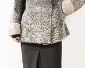 SALE Silver Broadtail Persian Lamb Fur Coat Silver Mink Sleeves and Hat S-M