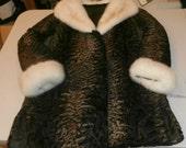 SALE Rare Vtg ELSA SCHIAPARELLI Brown Fade to Dark Persian Lamb Fur Coat with Mink