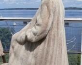 White MINK Fur Coat Tourmaline Blonde Blush Full Pelts Hair up German Sz XL-L