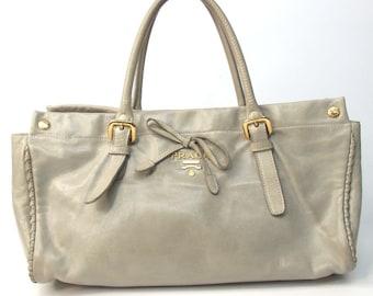 b3becc8718e0ae Authentic Vintage Prada Handbag Shoulder Satchel Tote Bag Gray Leather
