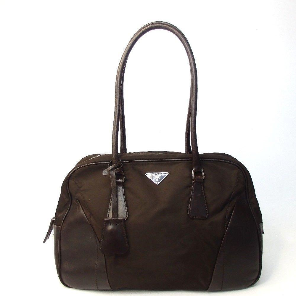 8094dcb6c567d6 SALE!!!!! Authentic Vintage Prada Shoulder Satchel Tote Bag Brown ...