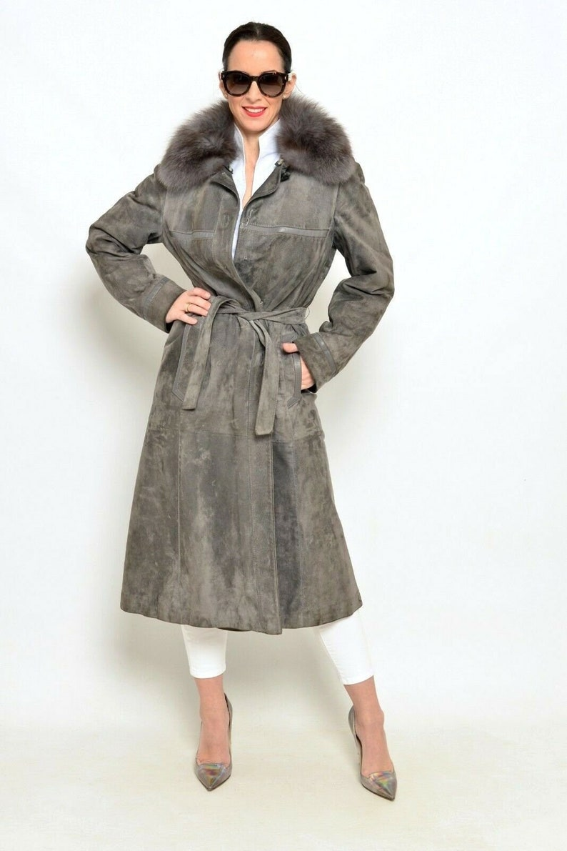 Purple Lilac Suede Coat with Blue Fox Fur Collar Sz Small