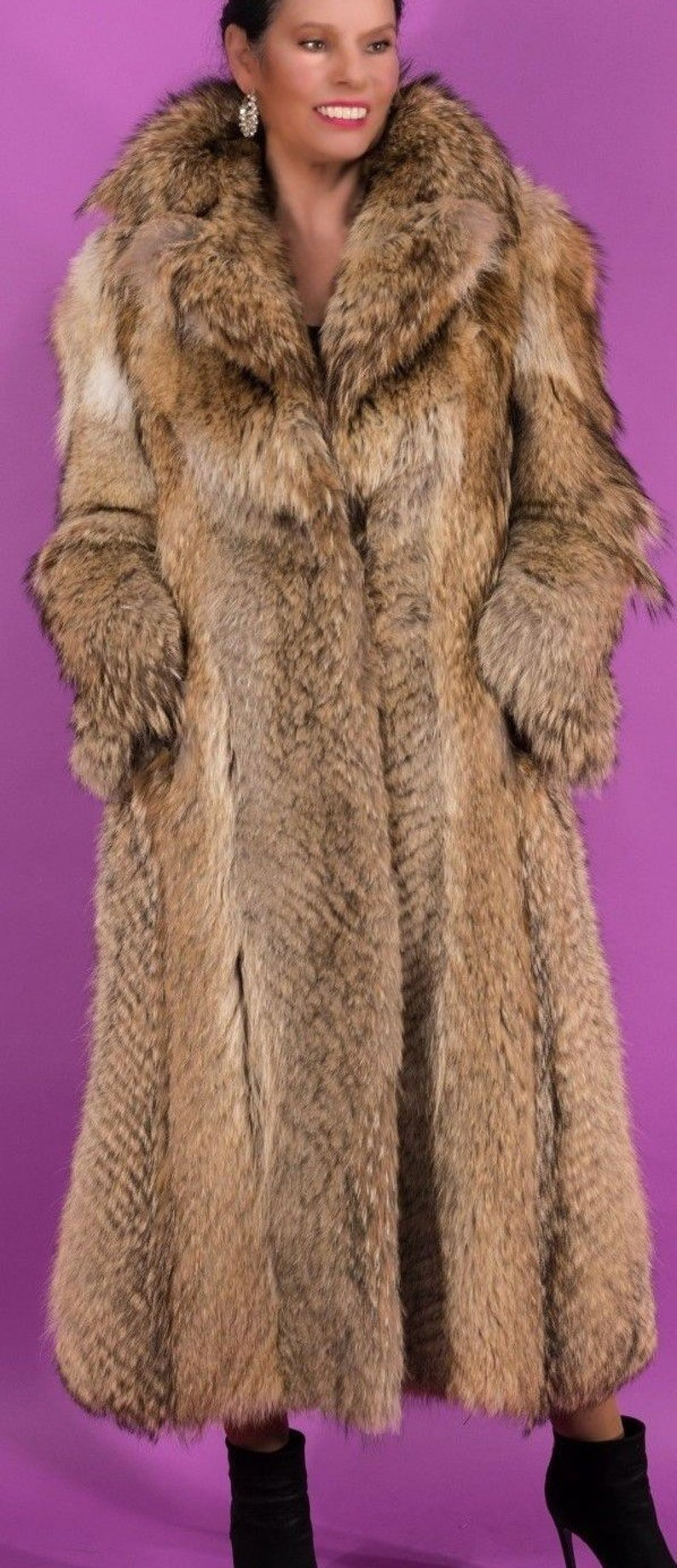 Coyote Fur Coat >> Coyote Fur Coat Full Length Size Small Etsy