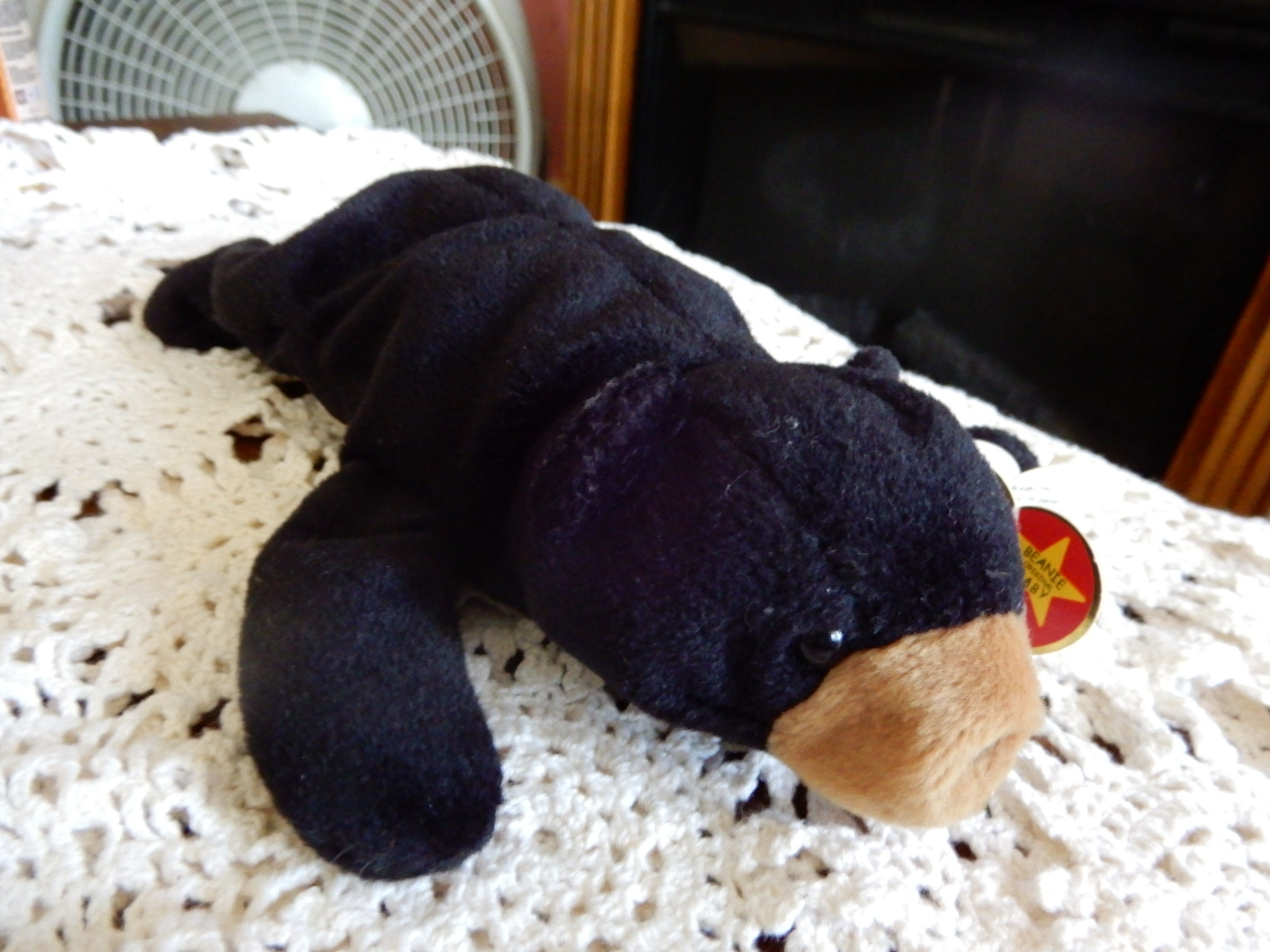58132b499ad BLACKIE the BEAR Rare Ty Beanie Baby Tag Errors Origiinal Suface ...