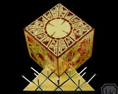 Hellraiser Puzzle Box With Base -  Bloodwood | Lament Configuration | Solid Exotic Hardwood | Inlaid Brass Hellraiser Box