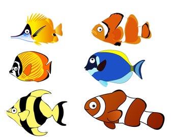 Fish Clip Art Ocean ClipArt PNG Cartoon Instant Download 6 Digital