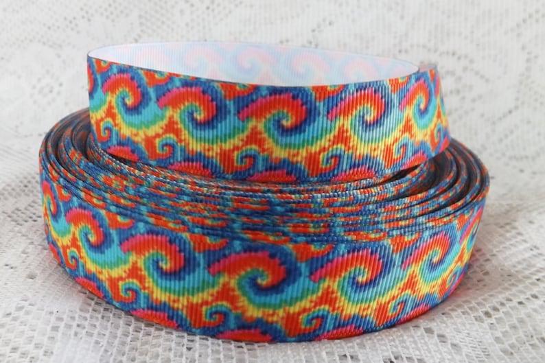 Rainbow ribbon rainbow tie dye ribbon grosgrain ribbon 7/8 image 0
