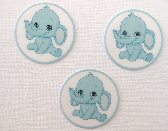 PRE CUT 12 EDIBLE RICE PAPER WAFER CARD BLUE IT'S A BOY CUPCAKE TOPPERS