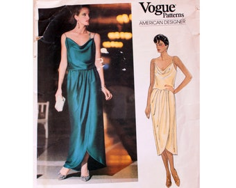 f7e7d4457bf Vogue American Designer 1137 Kasper Spaghetti Strap Drape Front Wrap  Evening Cocktail Dress Gown Sewing Pattern