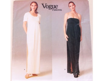 e71d62be2fb UNCUT Vogue 1689 Lauren Sara Vogue Maternity Designer Formal Strapless or  Short Sleeve Evening Gown Sewing Pattern 3 Sizes Bust 36