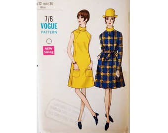 """UNCUT Vogue Special Design 7401 Vintage 60's  Mod Collarless Belted Coat and Dress Sewing Pattern Size UK 12 Bust 34"""""""