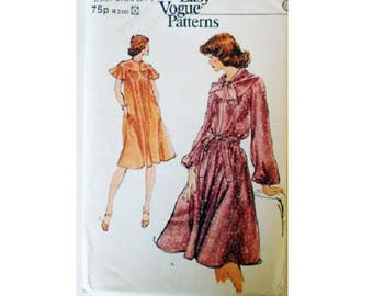UNCUT Vogue Very Easy 9268 Vintage 70 s Cape   Long Sleeve Loose Fitting Dress  Sewing Pattern with or without Scarf Belt Size UK 12 Bust 34 a2c167843