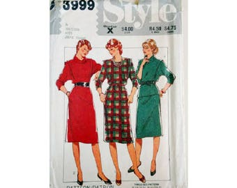 "Part UNCUT Style 3999 Vintage 80's Pullover Dress Cowl or Round Neck and Skirt Sewing Pattern 3 Sizes Bust 32.5"" 34"" 36"" UK 10 12 14"