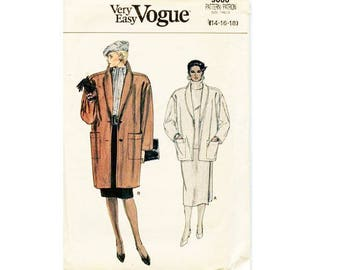 "UNCUT Vintage Vogue #9086 Shawl Collar Wool Coat Jacket Sewing Pattern Very loose-fitting 2 Options 3 Sizes Bust 36"" 38"" 40"""