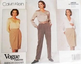 "Vintage Vogue 2832 Calvin Klein Wrap Skirt and Trouser Pants Sewing Pattern Size Waist 26.5"" UK 12"