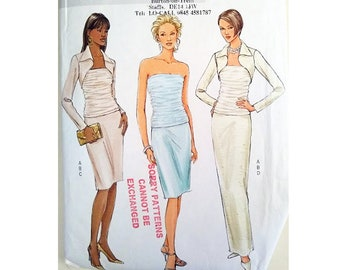 2e1b7d91292 Part UNCUT Butterick 4451 Ruched Bustier Strapless Bodice Cocktail Evening  Dress Gown and Shrug Bolero Evening Jacket Sewing Pattern 4 Sizes