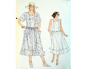 "Vintage Very Easy Vogue 8939 Loose Fitting Drop Waist Pullover Summer Dress Sewing Pattern Size Bust 34"" UK 12"