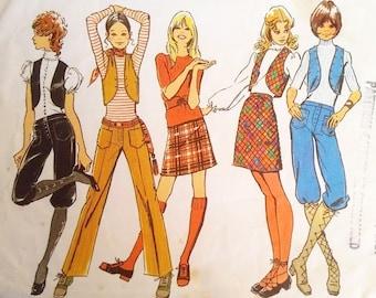 9da7f0714e1478 Vintage 70s Simplicity 9566 Denim Velvet Corduroy Mini Skirt Bolero Vest  Waistcoat Hip Hugger Trouser Pants Peddle Pusher Knickers Pattern