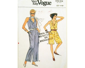 """UNCUT Very Easy Vogue 9268 Vogue 80's Sleeveless Jumpsuit or Romper Playsuit Sewing Pattern 3 Sizes Bust 34"""" 36"""" 38"""" UK 12 14 16"""