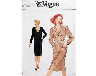 6ccb5b7245f6 Part UNCUT Very Easy Vogue 8418 Vintage 80 s Tailored Shirt Dress Sewing  Pattern 3 Sizes Bust 34