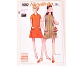 UNCUT Vintage 60 39 s Simplicity 7602 Zipper Front A Line Summer Sun Beach Cover Up Mini Dress Sewing Pattern