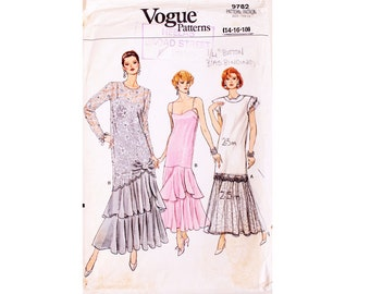 439f6e8ff610 Part UNCUT Vogue 9782 Drop Waist Evening Cocktail Holiday Party Dress Gown  Sewing Pattern 3 Sizes UK 14 16 18 Bust 36