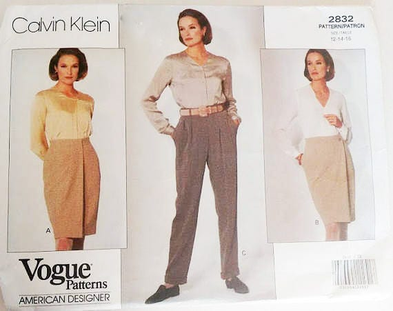 Vintage Vogue 2832 Calvin Klein Wrap Skirt and Trouser Pants Sewing ...