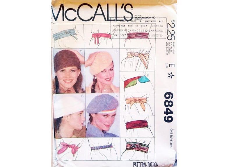 Part UNCUT McCall/'s Crafts 6849 Bert Hat 4 Options and Cummerbund Belt 9 Options Sewing Patterns