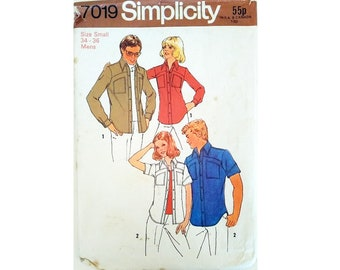 """Simplicity 7019 Vintage Men's Casual Summer Denim Shirt Sewing Pattern Long or Short Sleeve with Patch Pockets Size Small Chest 34"""" - 36"""""""