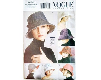 "UNCUT Vogue 7490 Millinery Hat Sewing Pattern Wide / Narrow Brim Clouche Lampshade Trilby Hat 7 Styles 3 Sizes S 21.5"" - M - 22.5"" L - 23.5"""
